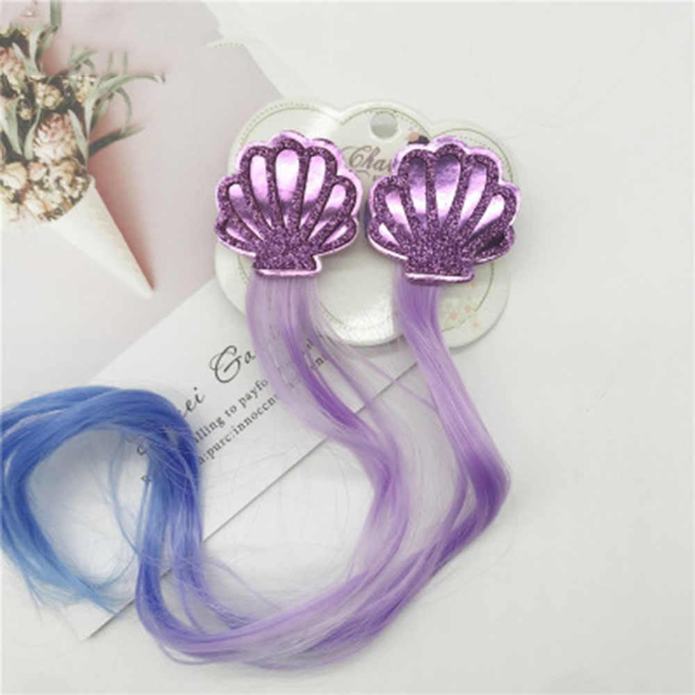 Perucas de cabelo coloridas gradiente, 1 par, doce, princesa, desenho, arco-íris, ornamento de cabelo para garotas bonitas, crianças, acessórios de cabelo