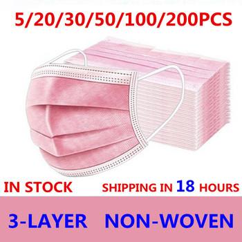 Maska jednorazowe 5 sztuk 50 sztuk 100 sztuk 200 sztuk Non wove 3 warstwy Ply maska z filtrem maska ochronna na twarz oddychające Earloops maski dla dorosłych różowy tanie i dobre opinie jiansu CN (pochodzenie) NONE Non-woven fabric + melt-blown fabric + non-woven fabric 3 Layer Ply Filter Mask masks disposable