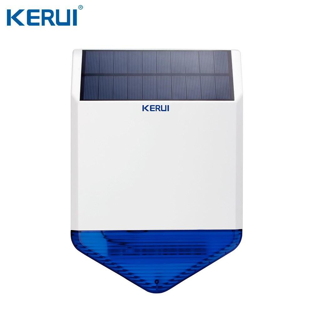 KERUI SJ1 zewnętrzna bezprzewodowa słoneczna syrena solarna na system alarmowy gsm bezpieczeństwo światło stroboskopowe syrena wodoodporna anty sabotaż w Syreny alarmowe od Bezpieczeństwo i ochrona na title=