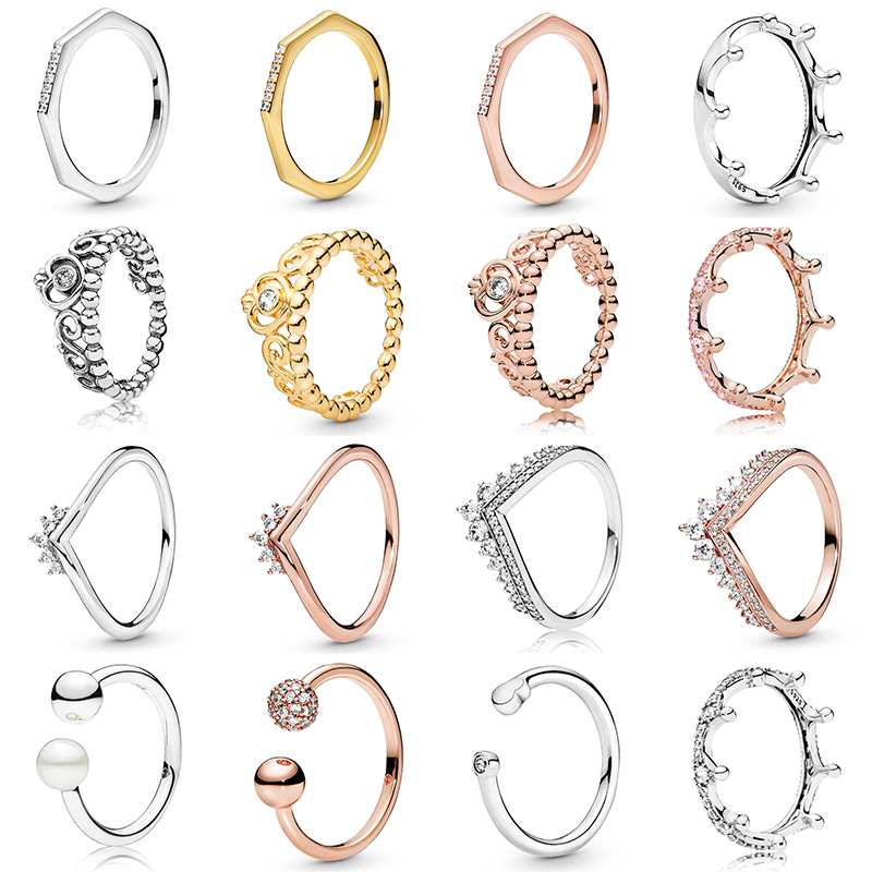 16 Styles New 3 Color Crown Love Heart 925 Silver Crystal Rings For Women Wedding Party Jewelry Gift