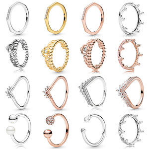 16 Styles New 3 Color Crown Love Heart Silver Color Crystal Rings For Women Wedding Party Jewelry