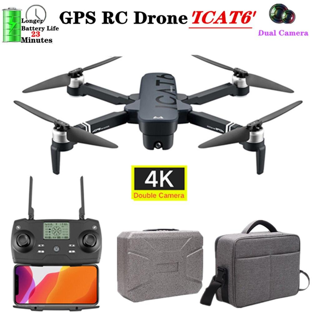 SMRC ICAT6 5G GPS Brushless Motor Foldable RC Drone WIFI 4K Dual HD Camera Flight range 1000 meters Quadcopter VS B4W Toys Dron
