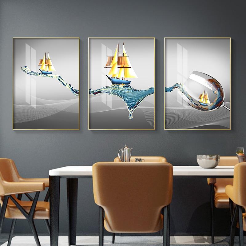 Постер в виде чашки с золотой лодкой, Современная Абстрактная Картина на холсте, скандинавские постеры и принты, настенные художественные картины для гостиной, домашний декор