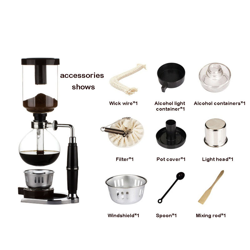 Image 5 - Home Style Siphon coffee maker Tea Siphon pot vacuum coffeemaker glass type coffee machine filter 3cup 5cups-in Coffee Makers from Home Appliances