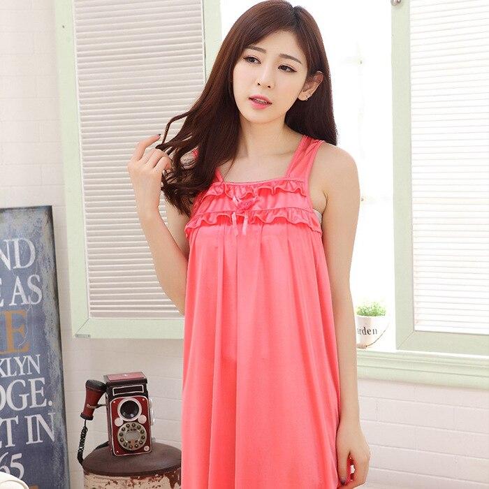 2019 Sweet Cute Viscose Nightgown Female Summer Camisole-Imitated Silk Fabric Dress Thin Pregnant Women Skirt Pajamas