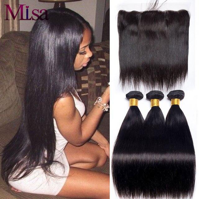 Mi ליזה 3 חבילות עם פרונטאלית מלזי ישר שיער Weave רמי שיער טבעי צרור ו 13x4 תחרה פרונטאלית סגירה עם חבילות