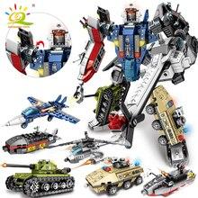 HUIQIBAO Robot de transformación 6 en 1 para niños, 733 Uds., bloque de construcción, tanque militar, helicóptero, barco, Guerrero de guerra, ladrillos creativos