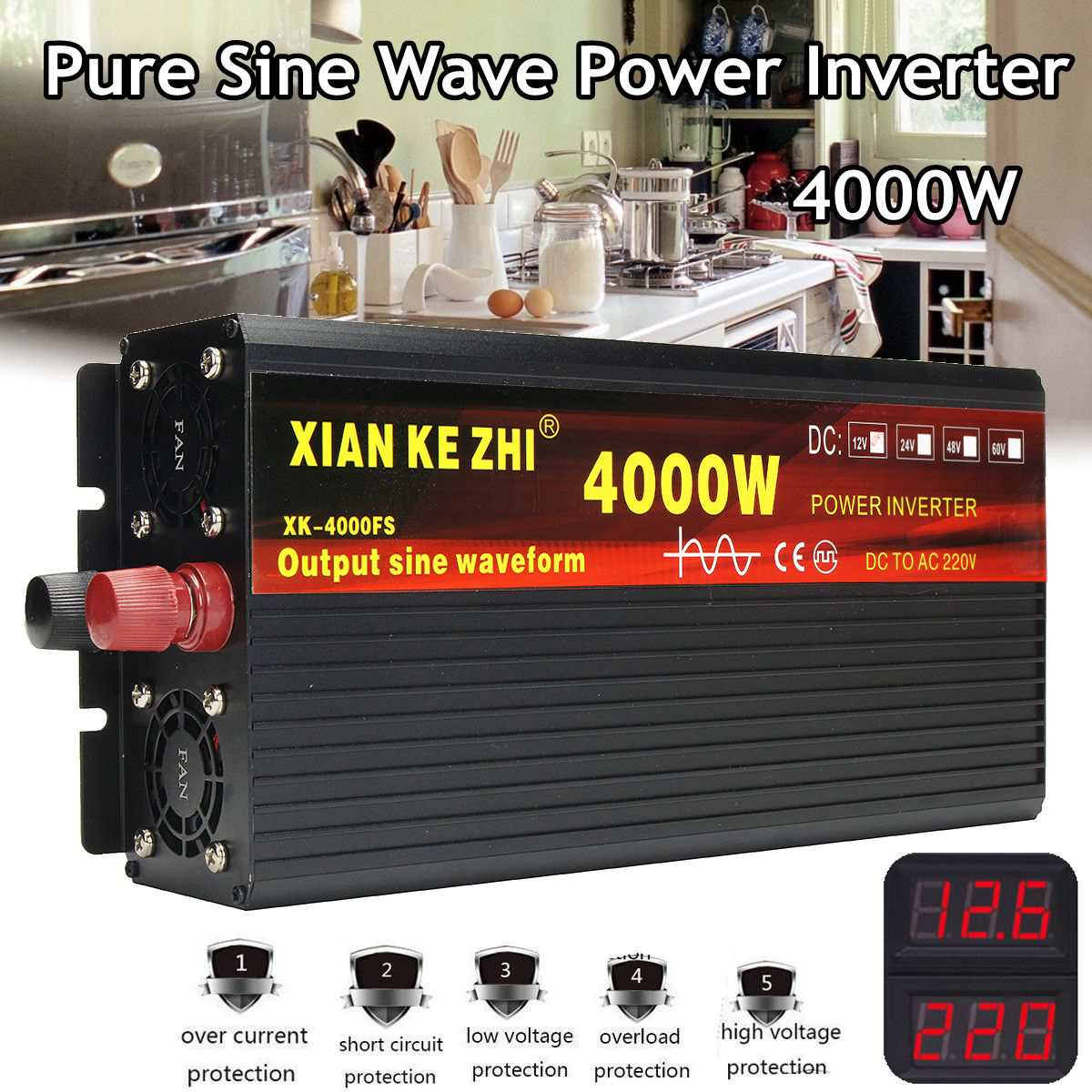 <font><b>Inverter</b></font> 12V/24V 220V 2000/<font><b>3000</b></font>/4000W Voltage transformer Pure Sine Wave Power <font><b>Inverter</b></font> DC12V to AC 220V Converter+2 LED Display image
