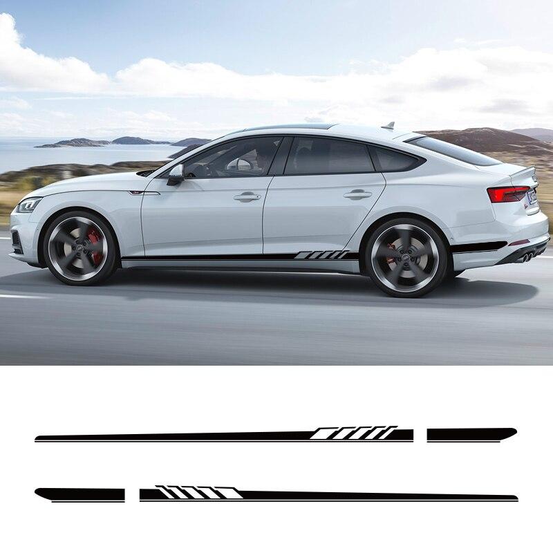 2 PCS Car Vinyl Side Stripes Stickers Auto Graphics Decals For Audi A3 A4 A5 A6 A7 Q2 Q3 Mercedes Benz BMW
