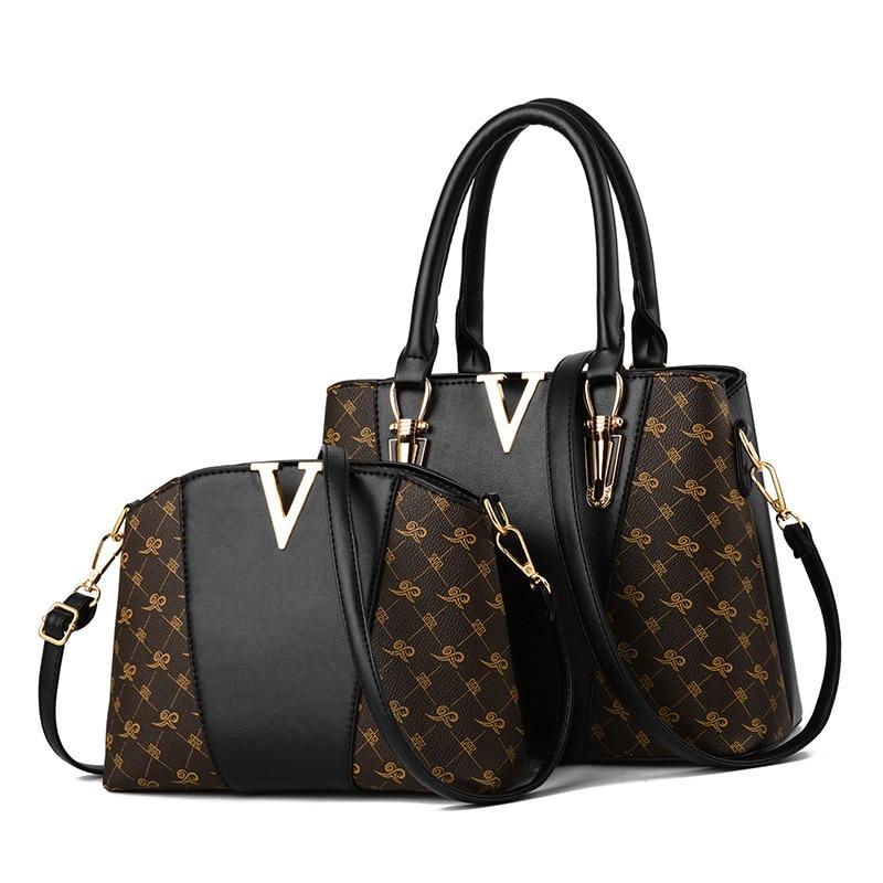 Luxury Brand Designer Women Bags Set 2Pcs Leather Handbag Tote Ladies Hand Bags Sac a Main Femme De Marque Luxe Cuir 2020  Femme