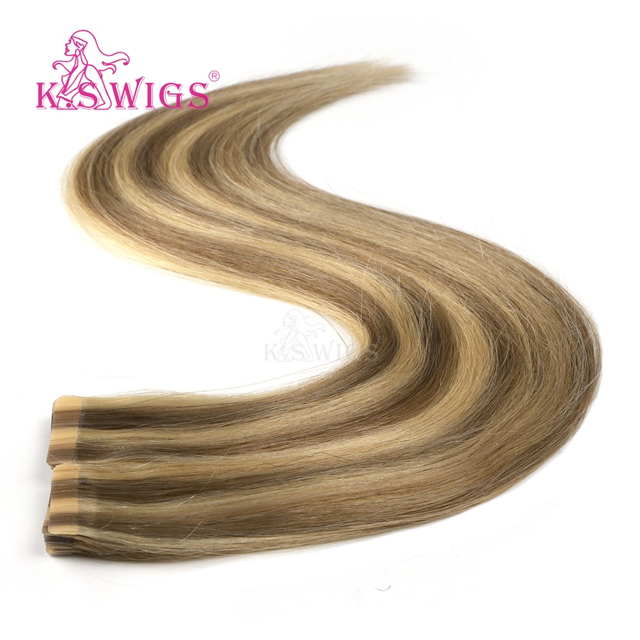 K.S WIGS 2.5g/pc Seamless Invisible Remy Human Hair Double Drawn Adhesives Tape On Skin Weft Extension Balayage Color 20'' 50cm