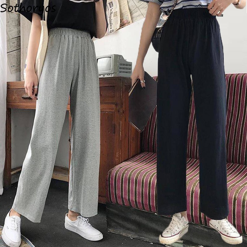 Pants Women Plus Velvet Solid High Elastic Waist All-match Wide Leg Trousers Womens Chic Harajuku Causal Soft Ulzzang Daily New