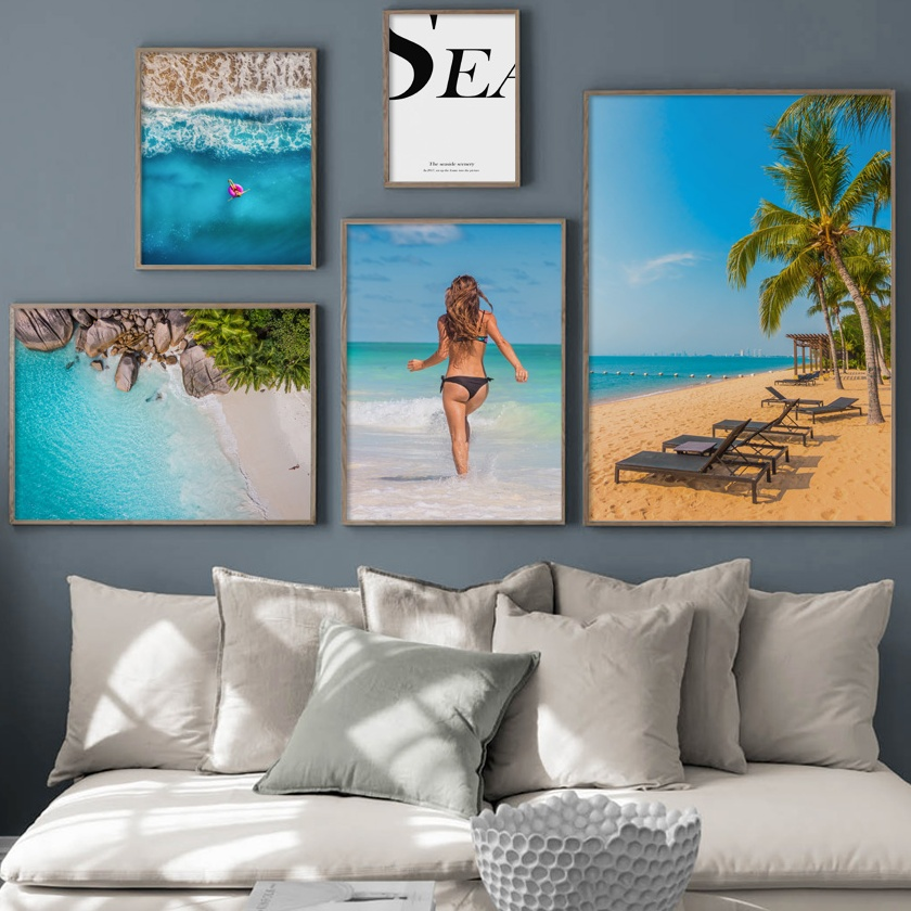 Sea Ocean Canvas Print Painting Beach Palm Tree Poster Hawaii Nordic Picture Art