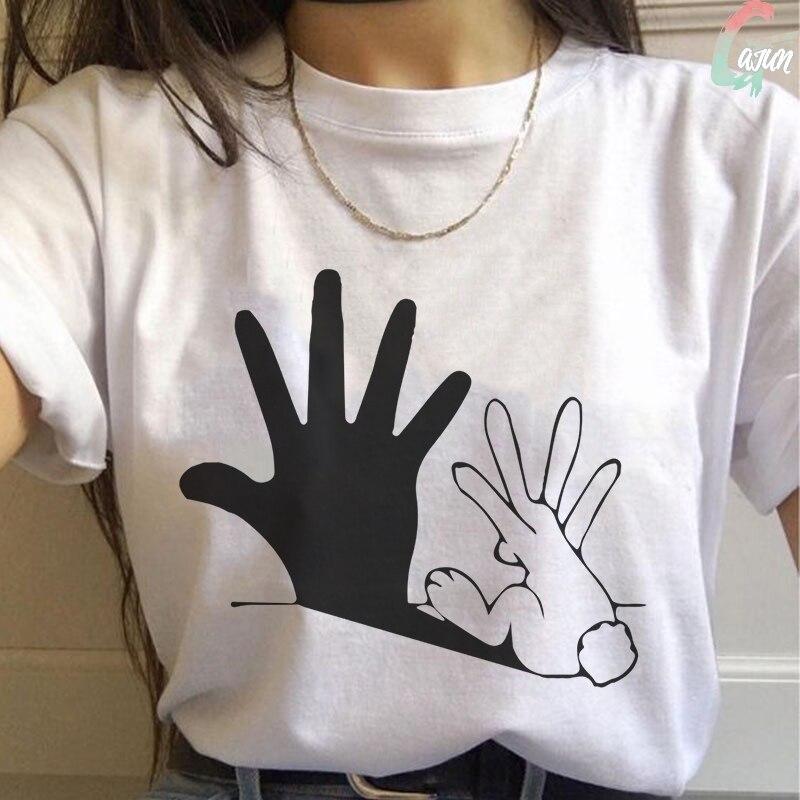 Summer 2020 New Funny Rabbit Shadow Hand Print T Shirt Spoof Personality Vogue Harajuku Tshirt Casual Loose Women Tops Clothing