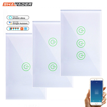 Wall Smart Wifi Touch Light Switch 1/2/3 Gang Glass Screen Touch Panel Voice Remote Control Wireless work with Alexa Google Home