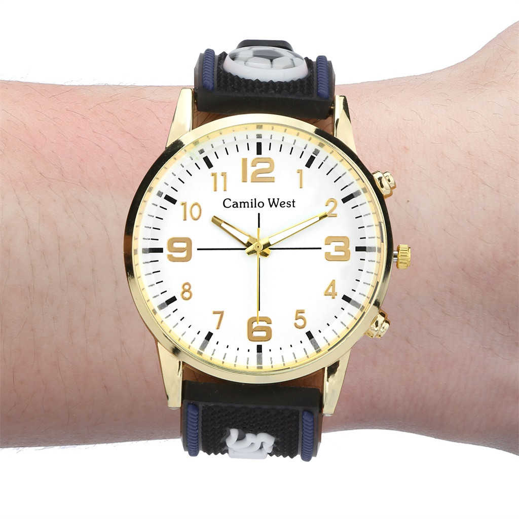 New Product Watches Men Quartz Casual Wristwatch Football Silicone Gold Border Sport Alloy Case Watch Gift Montre Homme@50