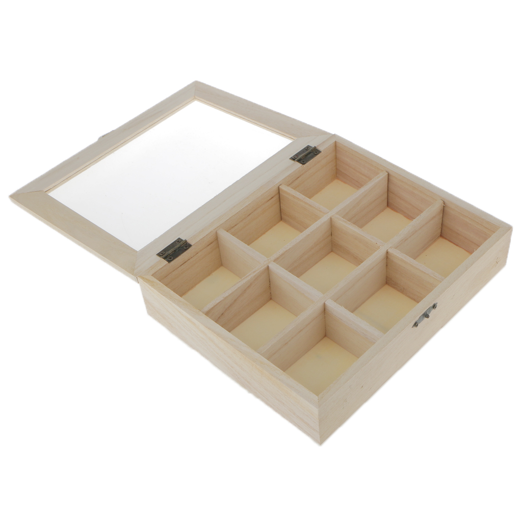 Unfinished Unpainted Plain Wooden Jewlry Box 9 Grids Keepsake Gift Storage 9 Grids With Glass Cover