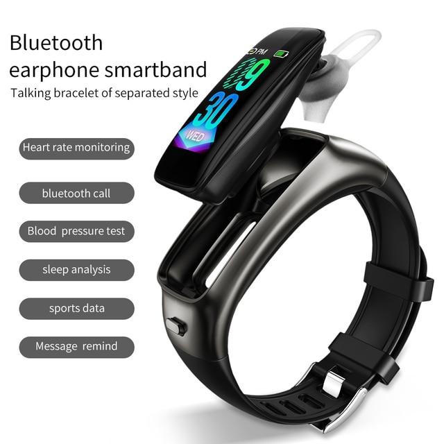 TB02スマートブレスレットのbluetoothイヤホンで2 1ワイヤレスヘッドセットノイズリダクション心拍数血圧モニターIP67防水