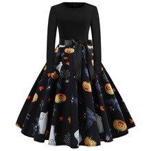 Fancy Pumpkin Printed Halloween Dress Long Sleeve Mid Length Princess Swing Ladies Costume for Festival Party M-XXL