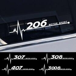 Reflexiva DO PVC Decoração Etiqueta Da Janela Lateral do carro Para Peugeot 206 307 308 407 207 3008 208 508 2008 301 408 607 4008 5008 Acessórios