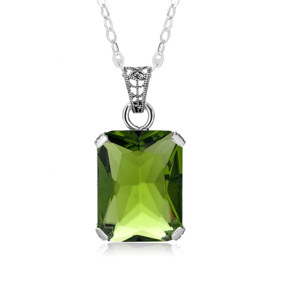 Szjinao Women Pendant Silver 925 Peridot Gemstone Pendants Necklace Olive Fine Jewellery Bohemia Ciondolo Without Chain Factory