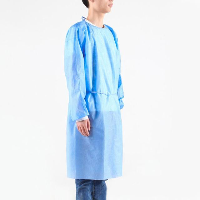 10pcs  PPE Suit Isolation Gowns  Adult Disposable Gowns Blue Protective Gowns Dust-proof Isolation Clothes Labour Suit Non-woven 3