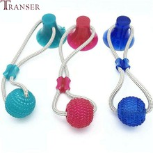 Transer Elastic Rope Round Ball Dog Toy TPR Pet Products Molar Teeth Clean Bite Outdoor Train Safe Play Puppy Dogs Toys 9107(China)