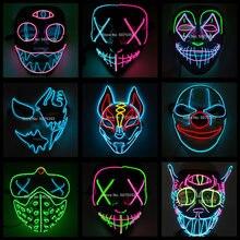 2020 Hot Sales Fashion LED Mask Luminous Glowing Halloween Party Mask Neon EL Mask Halloween Cosplay Mask Mascara Horror Maska