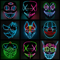 2021 heiße Verkäufe Mode LED Maske Leuchtenden Glowing Halloween-Party Maske Neon EL Maske Halloween Cosplay Maske Mascara Horror Maska