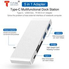 5-EM-1 USB C Hub Thunderbolt 3 Adaptador USB 3.1 COM TF SD Leitor de Cartao Slot USB 3.0 Porta PD Para MacBook Pro/Ar Tipo-C