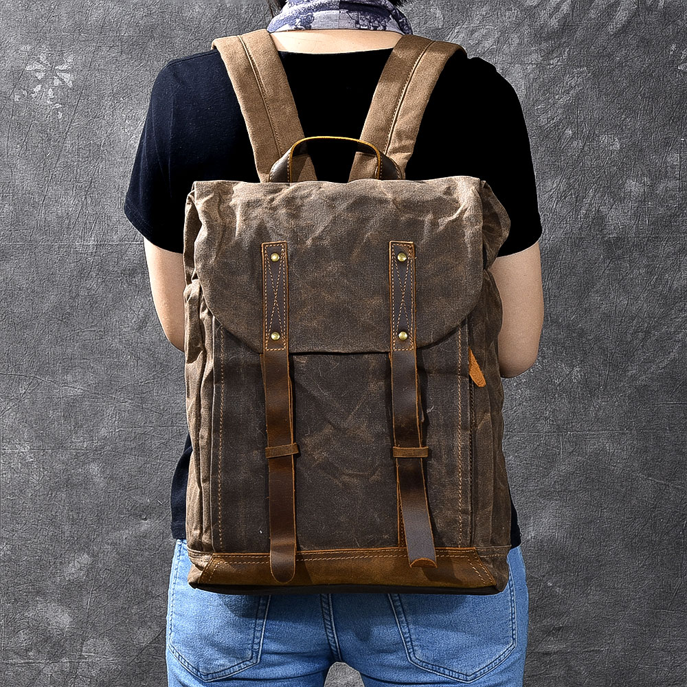 Men's large capacity backpack oil waxed canvas cowhide handmade vintage 17inch Laptop rucksack travel daypack mochila hombre