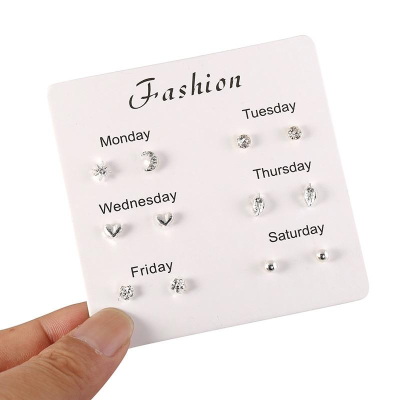 2020 Fashion Korean Version Fresh One Week Student Earrings Wild Earrings Silver-plate Welfare Sale For Women's Jewelry Gifts