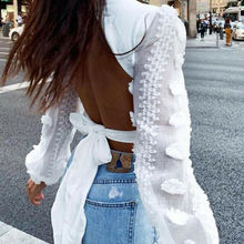 Spring New Women Lace Puff Sleeve Bandage Crop Top Blouse Deep V-Neck Sexy Ladies