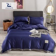 Liv-Esthete Luxury 100% Silk Healthy Love Home Blue Bedding Set Duvet Cover Silky Bed Pillowcase Queen King Flat Sheet