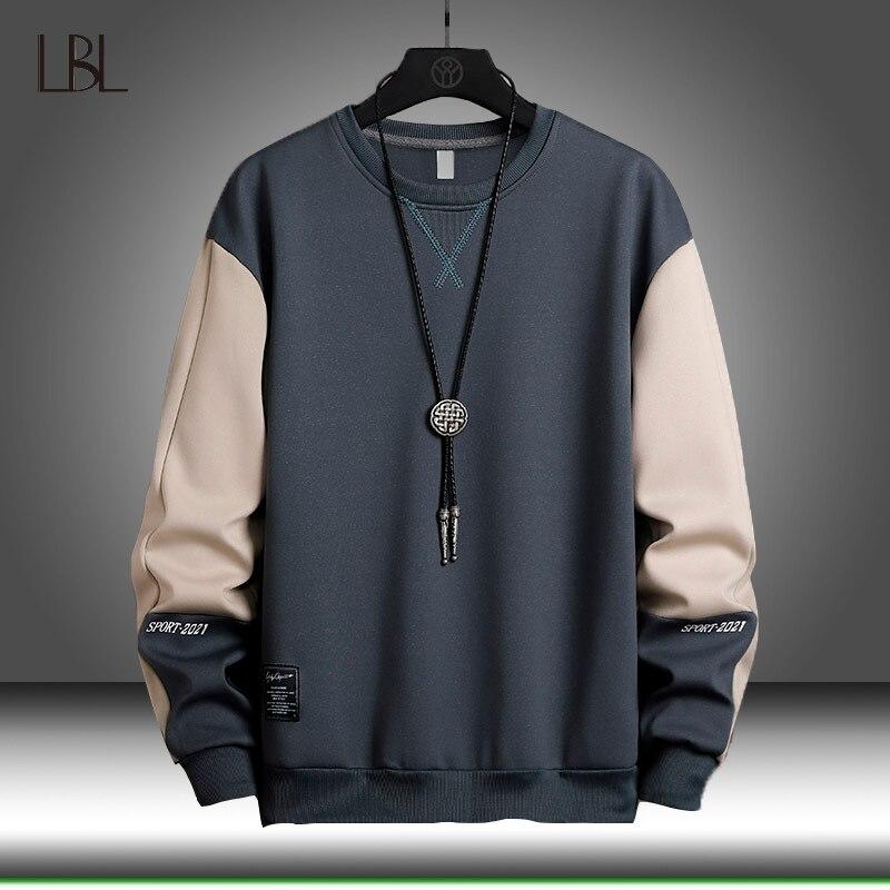 Primavera moletom dos homens casual hip hop streetwear hoodies soltos moletom com capuz retalhos pulôver topos masculino 2021 novo outono