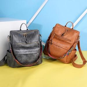 Image 3 - Multifunction Backpack Women Leather Backpacks Large Capacity Bag Vintage back pack With Ethnic Strap mochila mujer 2020 XA55H
