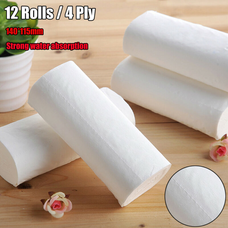 12 Rolls 4Ply White Tissue Paper Water Absorption Bathroom Home Wholesale Soft