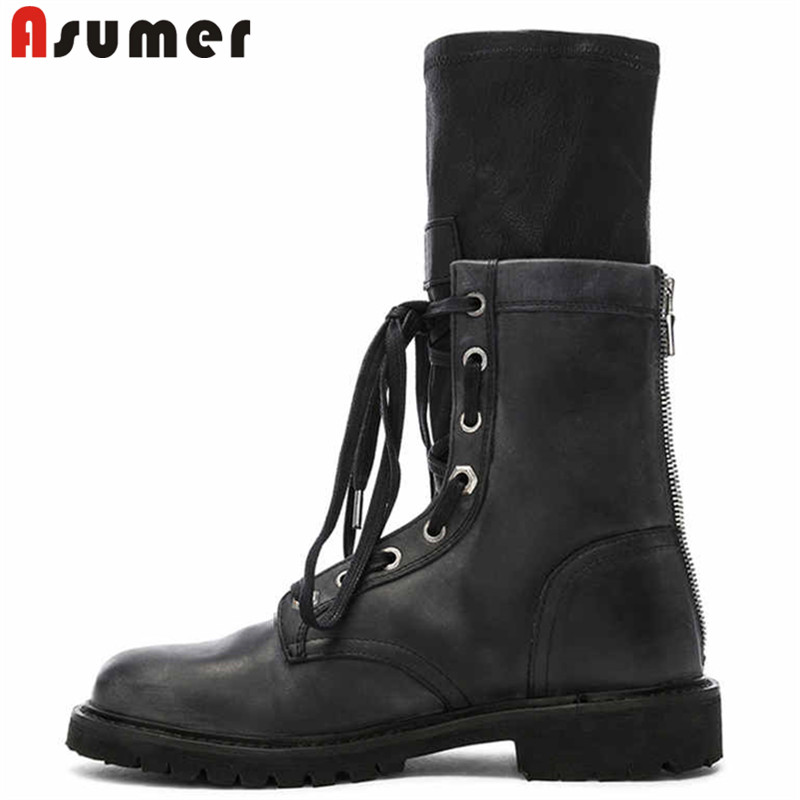 ASUMER Winter Shoes Boots Heel Autumn Genuine-Leather Ladies New Zip Ankle Zipper-Socks