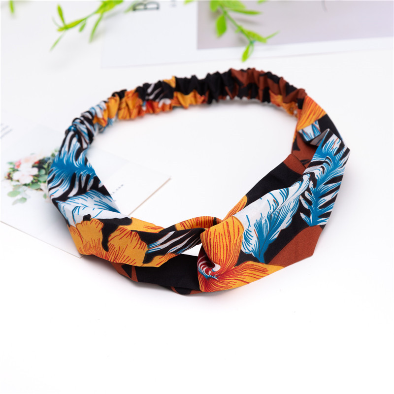 New Fashion Women Headband Print Plants Flowers Hair Band Cross Knot Turban Bandage Vintage Head Wrap Hair Accessories