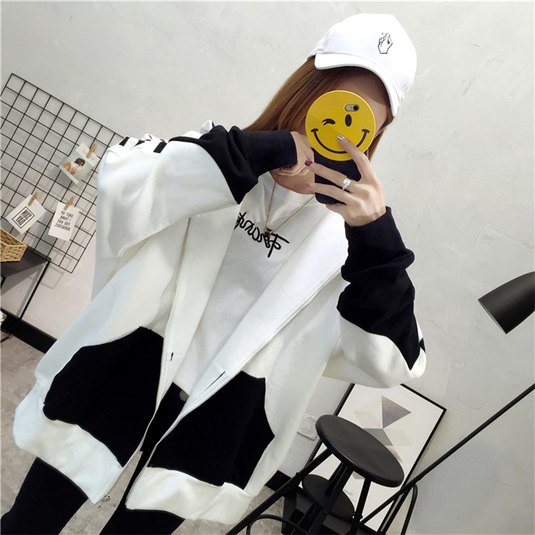 Women's Plus Velvet Spring And Autumn New Female Hooded Sports Jacket Female Stitching Hit Loose Loose Student Hooded Jacket