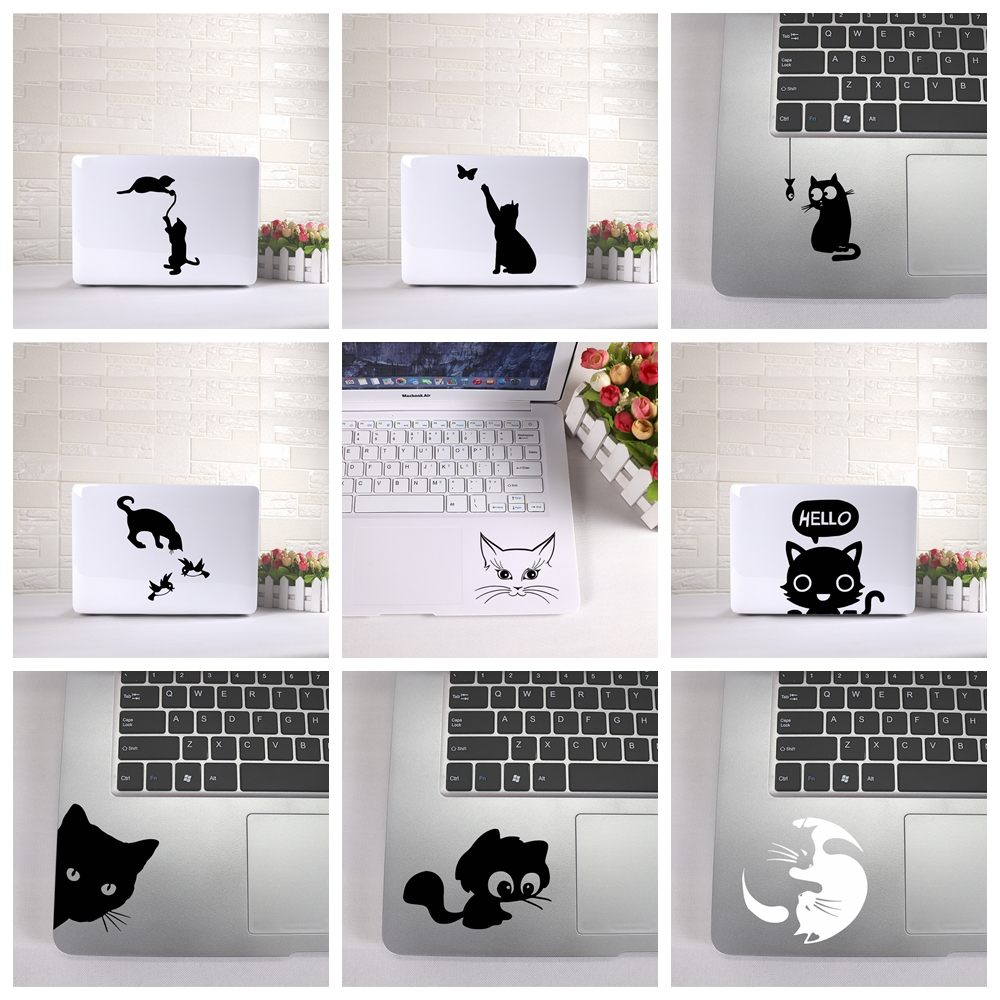Cute Cat Laptop Sticker Vinyl Stickers Decal For MacBook Air Retina Laptop Skin Decoration Keyboard Decals