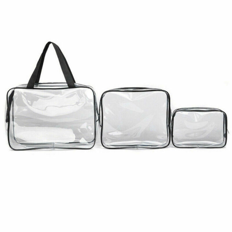 Women Cosmetic Bags Clear Transparent Plastic PVC Travel Cosmetic Make Up Bag Organizer Toiletry Bag Zipper Pouch /BY