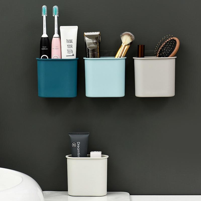 Simple Nordic Style Bathroom Shelf Storage Shampoo Holder Seamless Wall Mounted Adhesive Storage Rack Hook Bathroom Accessories