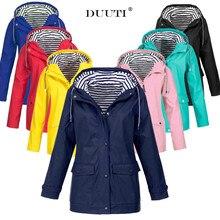 S-5XL Plus Size Solid Color Outdoor Jackets Hooded Raincoats Wind Jacket Waterproof Rain Long Coats Women Windbreaker D25