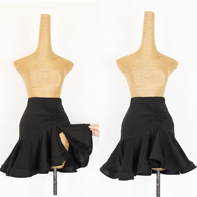 Jupes de danse latine femmes noir Split poisson os sac hanche jupe Cha Salsa Samba Rumba dames pratique spectacle Dancewear DN3997