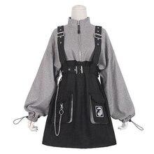 2020 rétro Vintage femmes gothique filles Punk Mini robe taille haute à manches longues chapeau col Sexy Gry noir Lolita grande taille Jurken