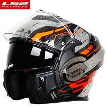 LS2 FF399 z unoszoną szybą Moto rcycle kask człowiek modułowy Moto krzyż wyścigi Capacete ls2 kask casco moto capacete de moto cicle ECE