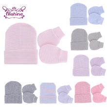 Glove-Set Newborn-Caps Baby Warm Mitten And Fashion Striped Knitted-Hat Face-Protect