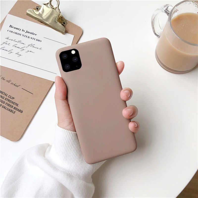 สีน้ำตาลกรณีโทรศัพท์สำหรับ iPhone 11 Pro XS MAX XR X 8 7 6S 6 Plus SE 5 5S กรณีซิลิโคนสีทึบ TPU ปกหลัง