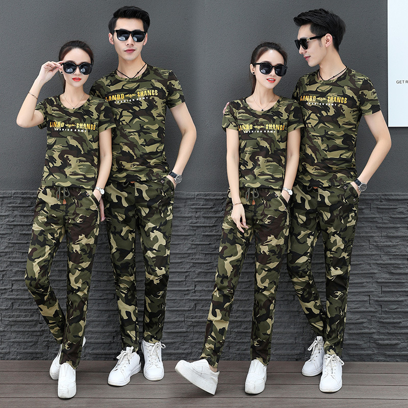 Two Piece Set Tracksuit Women Clothes Conjunto Feminino Chandal Mujer 2 Piezas Camouflage T-shirt + Pants Sweat Suits Women Set